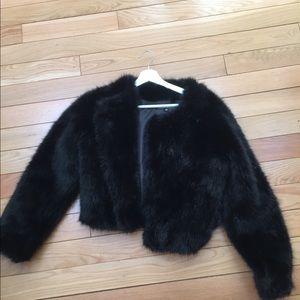 Faux Fur Coat Black Size M